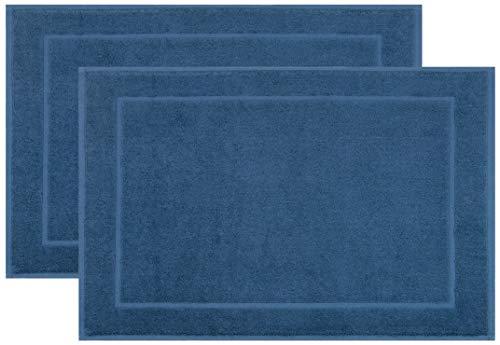 ZOLLNER 2 Alfombrillas de baño, 50x70 cm, azúl Marino, algodón