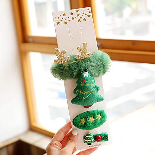 Jeairts Elk Reindeer Hair Clips Set Christmas Tree Santa Claus Hair Pins Sequin Fluffy Headpiece Hair Dress Decorative Festival Hair Accessories for Women and Girls (Green)