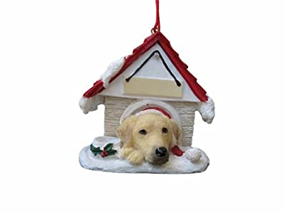 """Yellow Labrador Ornament A Great Gift For Yellow Labrador Owners Hand Painted and Easily Personalized """"Doghouse Ornament"""" With Magnetic Back from E&S Imports, Inc"""