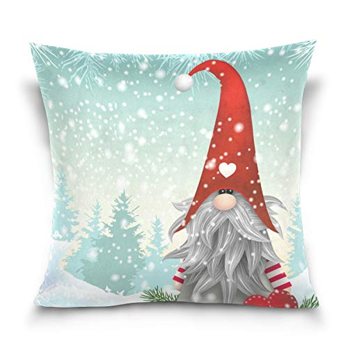 Pillow Cover Christmas Cute Gnome Pillow Case Decorative Square Cushion Covers Throw Pillowcase for Bedroom Living Room Sofa Party