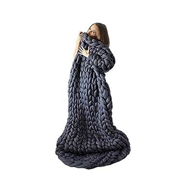 Giant Knit Blanket Hand-made Merino Wool Blend Chunky Bed Sofa Throw Super Large (Dark Gray, 40 x60 /100x150 CM)