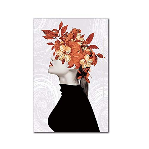 wZUN Carteles e Impresiones artísticos en Lienzo nórdico Pintura Minimalista Moderna para niña de Las Flores Sala de Estar decoración de la Pared Pintura 60x80cm Sin Marco