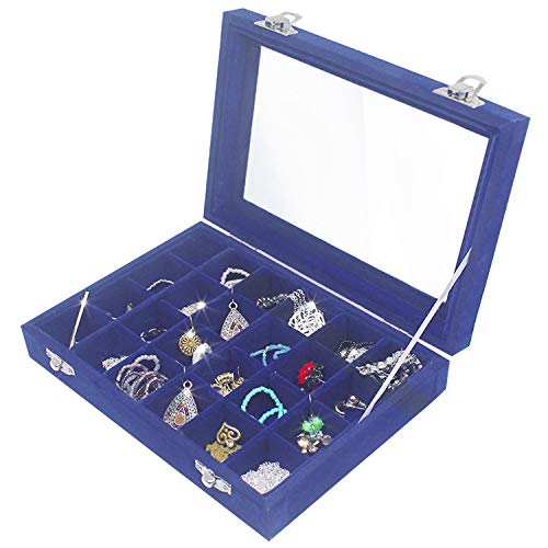 Clear Lid 24 Grid Small Jewelry Box ~ Showcase Display Storage For Rings Earrings Bracelet ~ Secure & Travel Friendly (Blue)