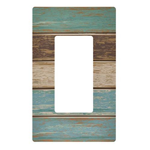 2 Gang Decorative Light Switch Wall Plate Old Color Wooden Texture Switch Plate Cover