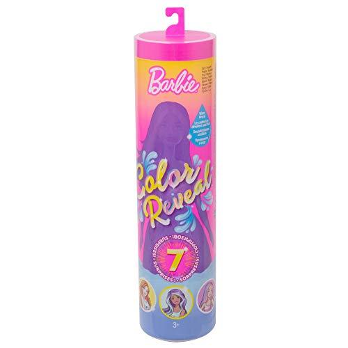 Barbie Color Reveal poupée avec 7 éléments mystère, 4 sachets surprise, modèle aléatoire, jouet pour enfant, GMT48