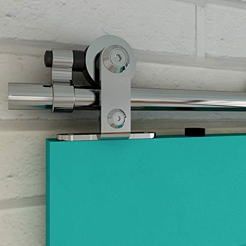 200cm/6.6ft Binario per Porta Scorrevole Acciaio Inossidabile Kit, WOLFBIRD Accessori Kit hardware per porta scorrevole da fienile di Legno Singole