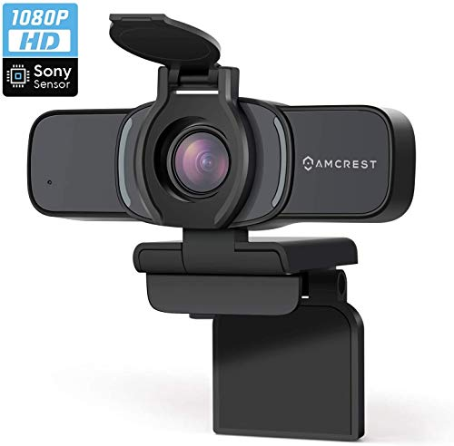 Amcrest 1080P Webcam mit Mikrofon und Datenschutzabdeckung, Webkamera, USB-Kamera, Computer-HD-Streaming-Webcam für PC, Desktop und Laptop mit Mikrofon, Weitwinkelobjektiv (AWC201-B)