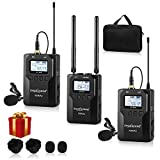 ZHUOSHENG UHF 100-channel Wireless Lavalier Microphone System for DSLR Mirrorless Camera Camcorder PC Smartphone-Wireless Dual Lapel Microphone for Interview YouTube Video Recording Vlogging ENG EFP