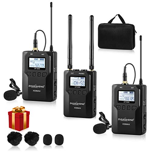 100-channel UHF Wireless Lavalier Lapel Microphone System for Canon Nikon Sony Panasonic DSLR Camera Camcorder & Smartphone-Used in Video Recording Teaching Presentation Interview (2TX+1RX)-ZHUOSHENG