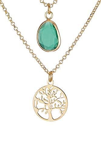 Córdoba Jewels | Gargantilla en Plata de Ley 925 bañada en Oro con Piedra semipreciosa con diseño Árbol Kiut Esmeralda Gold