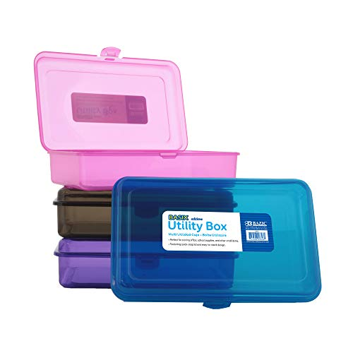 BAZIC Multipurpose Utility Box Clear Plastic Color Storage Case Cubby Cubes Bin Pen Pencil Boxes Storage Desk Plastic Organizer Case for Student Kids Arts Crafts Supplies Office 4-Pack