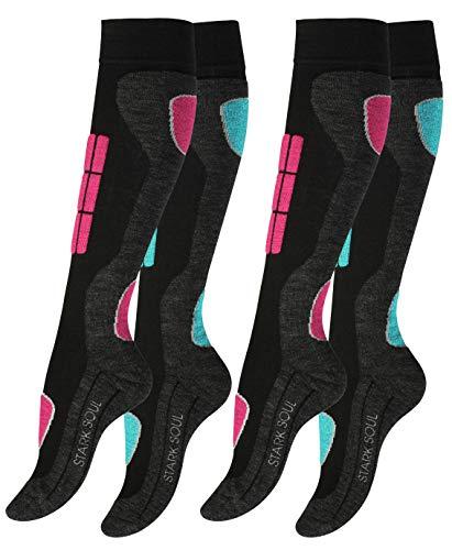 """Lot de 2 paires de chaussettes hautes de ski/snowboard - renfort spécial - d'origine de """"VCA®"""", Rose/Turquoise, 39-42 EU"""