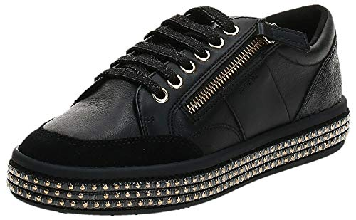 Geox Damen D LEELU' E Sneaker, Black, 37 EU