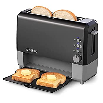 West Bend 77224 2 Slice Toaster QuikServe Wide Slot Slide Through with Bagel and Gluten-Free Settings and Cool Touch Exterior Includes Removable Serving Tray Black