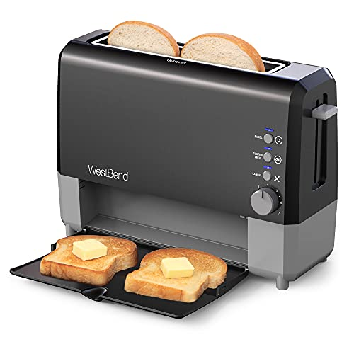 West Bend 77224 2 Slice Toaster QuikServe Wide Slot Slide Through with Bagel and Gluten-Free Settings and Cool Touch Exterior Includes Removable Serving Tray, Black