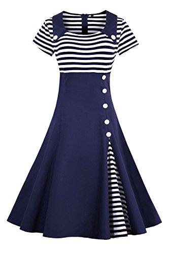 2017 Damen 50er Jahre Retro Kleid Swing Cocktailkleid Partykleid Pin up gestreift Lang, Navy Blau 2, Gr. XXXXL