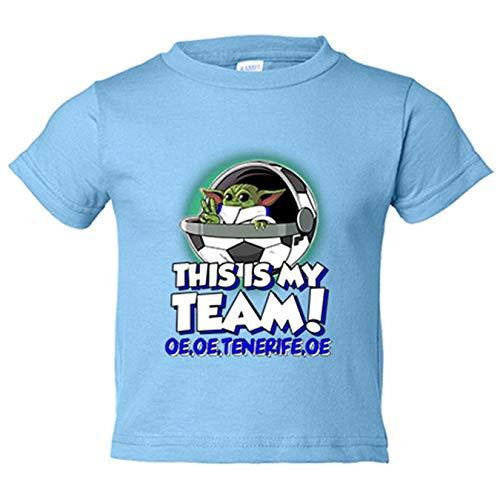 Camiseta niño parodia baby Yoda mi equipo de fútbol Tenerife - Celeste, 12-18 meses