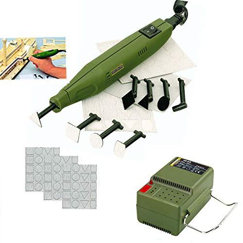 PROXXON MICROMOT Mini Schleifer / Penschleifer PS 13 Set – inklusive Netzgerät, 4 gerade Schleifeinsätze, 4 abgewinkelte Schleifeinsätze und 240 Schleifblätter in verschiedenen Formen und Körnungen