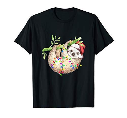 Santa Sloth Christmas Lights T-Shirt
