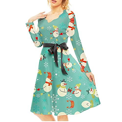 Navidad Mujer Elegantes Vestidos Midi Vintage Talla Grande Invierno Casual Maxi Calabaza...