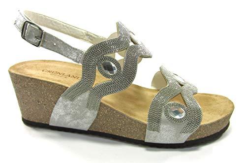 Grunland SB 1588 Sandalo Donna Tomaia Gioiello con Zeppa, Chiusura con Fibbia (Argento, Numeric_36)