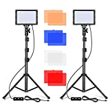 Emart LED Video Light 11 Brightness/4 Color Filters Dimmable Photography Continuous Table Top Lighting, Adjustable Tripod Stand, USB Portable Fill Light for Photo Studio Shooting