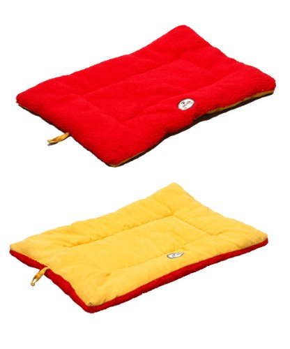 Price comparison product image PET LIFE 'Eco-Paw' Reversible Eco-Friendly Recyclabled Polyfill Fashion Designer Pet Dog Bed Mat Lounge,  Medium,  Orange and Red