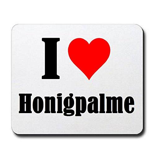 Gaming Mauspad 'I Love Honigpalme' in Weiss, eine tolle Geschenkidee die von Herzen kommt| Rutschfestes Mousepad | Geschenktipp: Weihnachten Jahrestag Geburtstag Lieblingsmensch