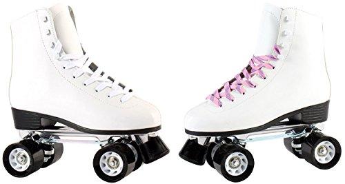 Echtleder Rollschuhe/Discoroller für Erwachsene und Kinder in schwarz oder weiß mit Stopper Gr. 36-42 (weiß - 37)