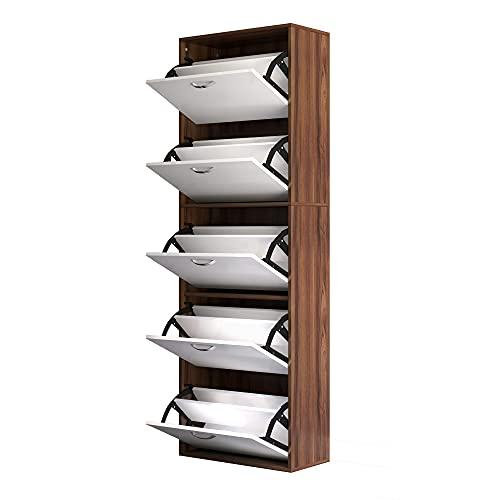 homcom Scarpiera Salvaspazio a 5 Piano Moderna in Legno con 5 Scomparti per 30 Paia di Scarpe Colore Bianco e Marrone 60 x 28 x 189cm