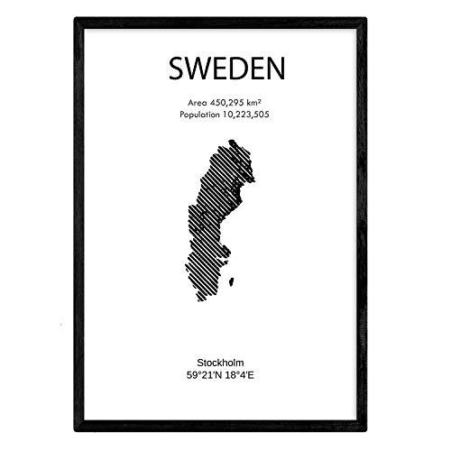 Nacnic Plakat von Schweden. Blätter von Ländern und Kontinenten. A3 Größe