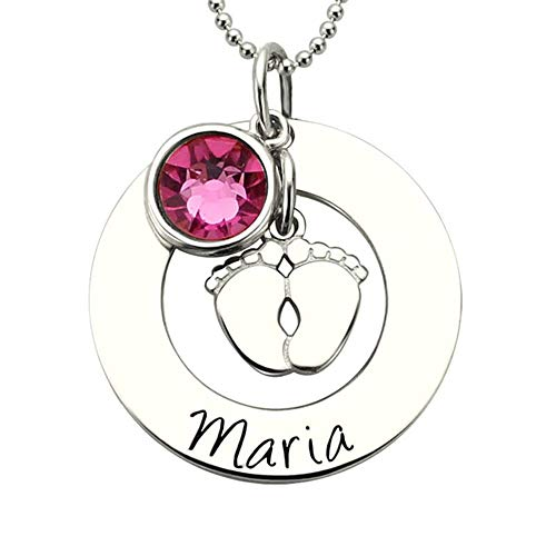 Círculo Redondo Colgante Collar de pies de bebé con Piedra de Nacimiento Regalo Personalizado de joyería de Doble círculo Etiqueta Personalizada para mamá Regalo de joyería para el día de la M