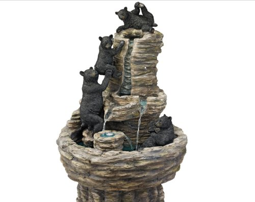 Exclusive Exotic Classic Water Black Bears Sculpture Statue Home Garden Fountain
