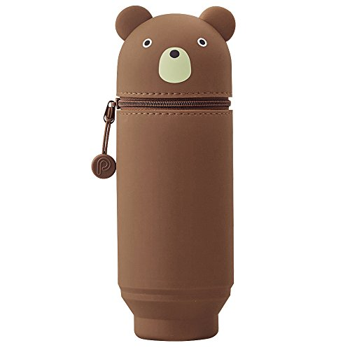 LIHITLAB PuniLabo Stand Up Pen Case (Pen Holder), Large, 2.9' x 8.3', Bear (A7714-1)