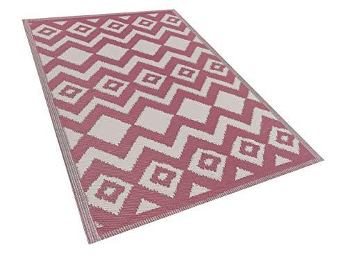Beliani Outdoor Teppich rosa 180x270 cm Bodenschutzmatte Kunststoffmatte Dewas