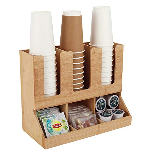 TQVAI Bamboo Coffee Condiment Station Organizer Coffee Accessories Caddy Rack - 6 Compartments Great for Storage Coffee Pods, Tea Bags, Disposable Cups, Original
