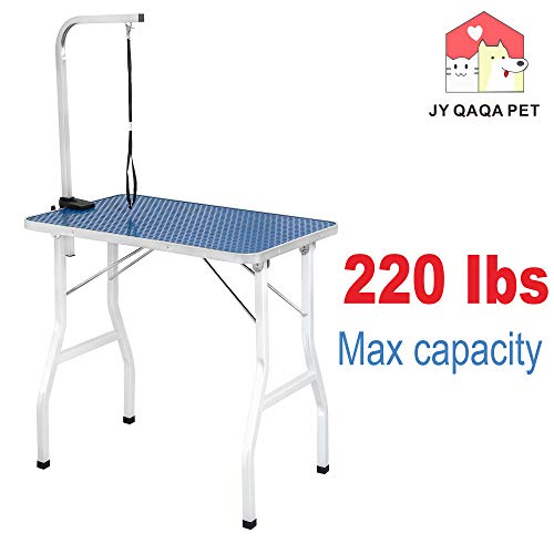 JY QAQA PET 32' Professional Foldable Pet Dog Grooming Table with Adjustable Arm,Maximum Capacity Up to 220lbs
