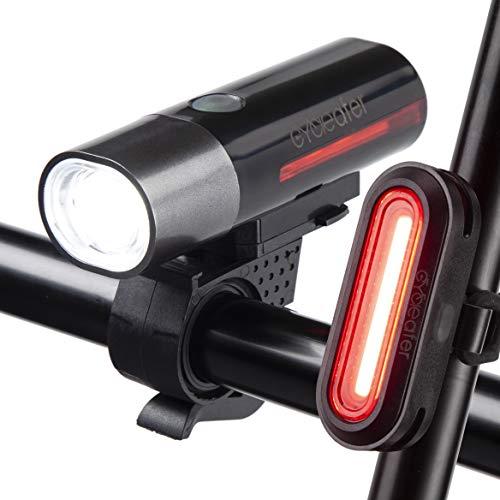 Cycleafer® Luz Bicicleta Recargable USB, Linterna Bicicleta con Luz Bicicleta Delantera, y Luz Trasera Bicicleta, GARANTÍA DE 3 años, Luz LED Bicicleta para Carretera y Montaña