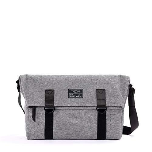 Miomojo - Unisex-Tasche Augusto Messanger Energic-Linie, grau, aus hochwertigem Stoff mit Bio-Baumwolle und Viskose, Design in Italien mit verstellbarem Schultergurt, vegan, Maße L 48 T 12 bis 30 cm