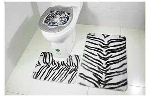 Juegos de alfombrillas de baño antideslizantes de 3 piezas, alfombrillas de baño de animales de tela de franela, alfombras de baño, alfombrilla de pedestal y cubierta de asiento de inodoro tigre blan