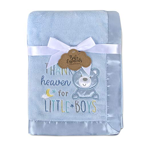 Baby Essentials 30x40 Fleece Baby Blanket with Satin Trim for Boys, Girls, and Unknown Gender Baby (Blue)