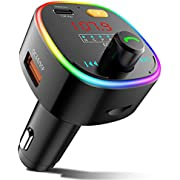 ZEEPORTE Bluetooth FM Transmitter for Car, 10 Colors LED Backlit QC3.0& USB-C PD 27W Quick Charger Wireless Bluetooth Car FM Radio Adapter, MP3 Music Player with EQ Mode, 3 USB Port, TF Card USB Drive