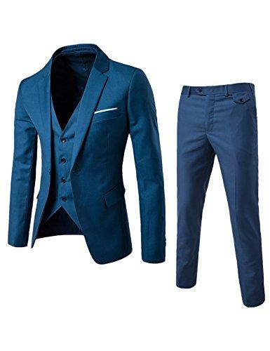 Bestgift masculino blazer tux colete calças terno de 3 peças XGGGGG azul marinho