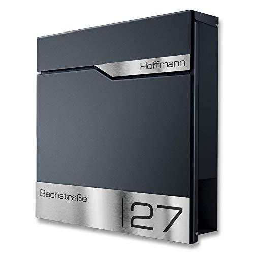 Metzler Briefkasten mit V2A Edelstahl-Namensschild - Design Wandbriefkasten inkl. Zeitungsfach - Postkasten in Anthrazit RAL 7016 - Größe: 37 x 37 x 10,5 cm