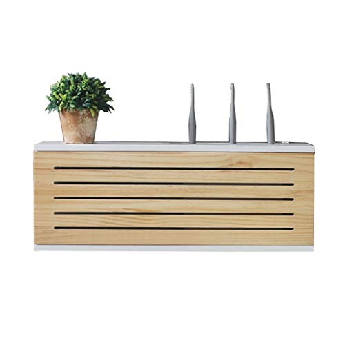 Solid Wood Network Set-top Box Wall Mounted Router Storage Box TV Lower Row Socket Occlusion Box Wireless WiFi Router Shelf (Size : Length 50cm)