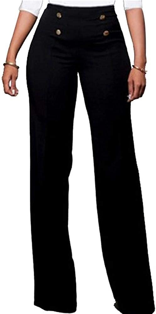 Lucuna Women's Stretchy High Waisted Loose Fit Bootcut Office Work Long Pants with Belt