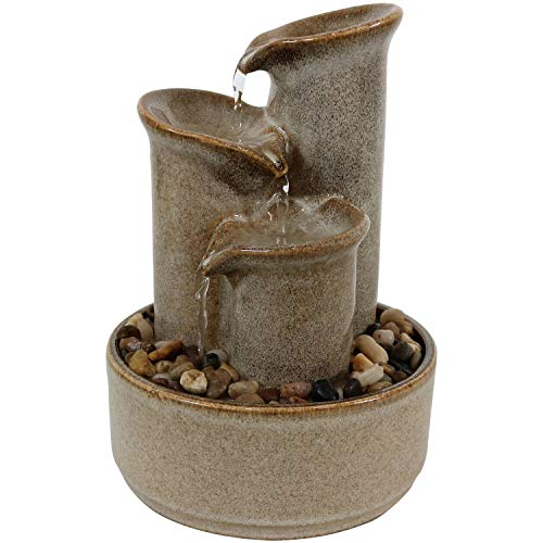 Sunnydaze 10-Inch Tiered Carafe Smooth Glazed Ceramic Indoor Tabletop Water Fountain - Soothing and Relaxing Water Sound - Mini Decorative Water Fountain for Home or Office