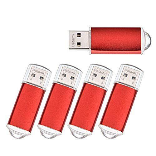 Memoria USB 2.0 1GB Pack de 5 Pendrives - Mini Metal Pen Drive 1 GB 5 Piezas - Almacenamiento de Datos Externo Llave USB - Datarm Unidad Flash USB Comptudora Rojo Memory Stick para Conferencia