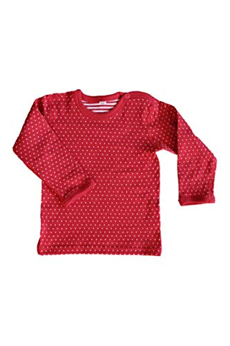 Leela Cotton Baby Kinder Langarmshirt Wendelangarmshirt Bio-Baumwolle Wendeshirt T-Shirt Jungen Mädchen Gr. 50/56 bis 140 (86/92, rot)