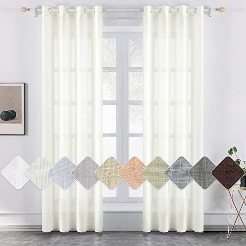 MIULEE 2er Set Voile Vorhang Sheer Leinenvorhang mit Ösen Transparente Leinen Optik Gardine Ösenschal Wohnzimmer Fensterschal Lichtdurchlässig Dekoschal Schlafzimmer 140x280cm (B x H) Elfenbeinweiß